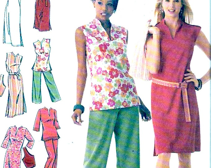 Summer dress tunic capri pants bag sewing pattern Simplicity 4190 Size 10 to 18 Uncut
