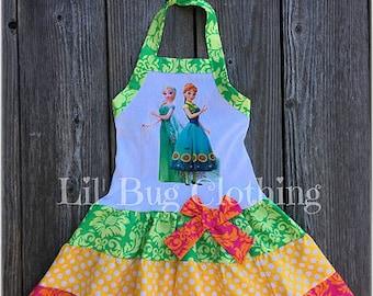 Frozen Fever Dress- Frozen Fever Birthday Party Girl Dress- Frozen Fever Outfit- Anna Elsa Frozen Girl Dress- Anna Elsa Outfit