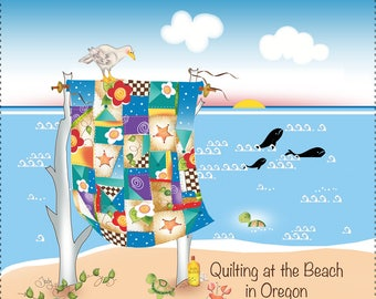 Quilting at the Beach in Oregon Fabric Art Panel