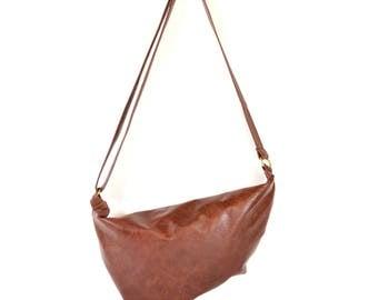 Emilie - Burgundy Brown Leather Shoulder Bag Handmade
