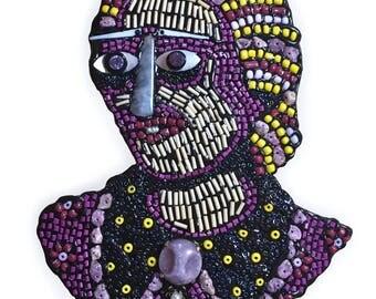 Folk Art Bead Purple Woman Fine Art Wall Sculpture Assemblage