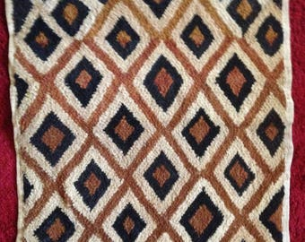 """Large Kuba Cloth Wall Hanging from D.R. CONGO, AFRICA approx 22""""x 26"""""""