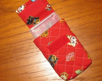Travel Medication or Jewelry Holder with Quilted Japanese Fabric Case Maneki Neko Cat Design