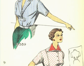 Mid Century Fashion Designer Look Book Preview Pages  1950s Fashion Color Pages from Design House Look Book