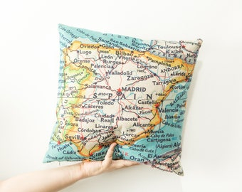 Spain Map Throw Pillow - Spain Map Pillow - Map Toss Pillow - Spain Pillow - Seville Pillow - Barcelona Pillow - Madrid Pillow - COVER ONLY