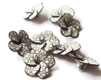 Brown and White Flower Beads Polymer Clay Beads Hibiscus Beads or Plumeria Beads 34mm Beads Qty 8 Beading Supplies Polka Dot Beads