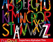 Alphabet Superhero Clipart - Thin Letters Uppercase clip art superhero - Bigcaps ABC Alphabet clipart - instant download