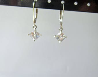 Sterling Silver and Faceted Sparkling Crystal Dangle Earrings - 1703D
