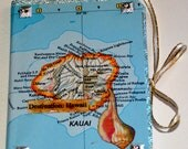 Hawaii travel journal/ Kauai map journal/ Lihue map/ handmade mini journal/ junk journal/ smash book / travel planner / purse notebook