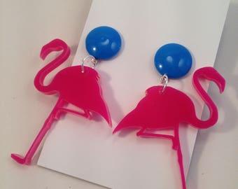 1940s 1950s Rockabilly Style Retro Pink Flamingo Earrings By Voodoo Betty