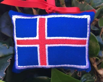 Icelandic Flag Christmas Ornament  - Gift Topper - Door Knob Hanger Pillow - Iceland