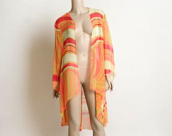 Vintage Sherbet Swirl Sheer Cover Up Robe - Light Chiffon Peach Orange & Green Red Duster - Boho Bohemian