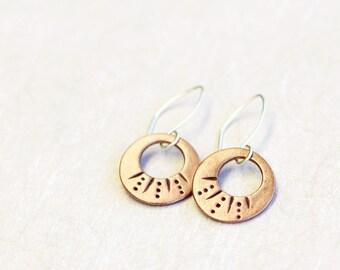 copper hoop dangle earrings, copper and sterling silver, fira