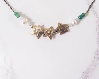 Green starfish necklace, brass aventurine amazonite gemstones & freshwater pearls, seaside ocean jewelry
