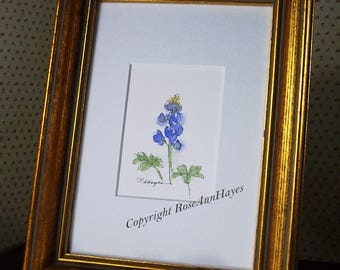 Wildflower Texas Bluebonnet Watercolor Gift Original Painting ACEO Flower Floral Garden Miniature Housewarming