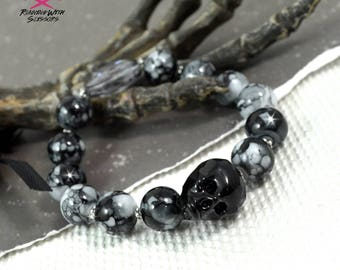 INKED SKULL - Czech Crystal Skull and Snowflake Obsidian Couture Bracelet