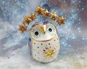 Celestial Fairy Owl Ceramic Sculpture with Gold