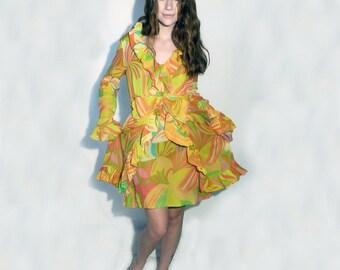 1960 - 70's Vintage Ruffled Chiffon Layered Colorful Split Skirt Dress