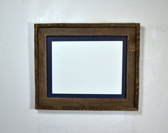 "Rustic style picture frame with 9"" x 12"" red mat complete ready to ship 20 mat colors available"