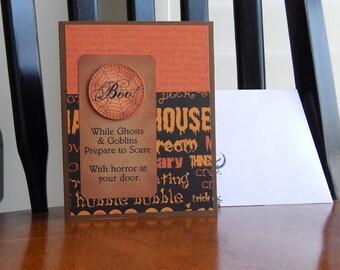 Handmade Halloween Card: Boo, friend, family, scare, greeting card, brown, orange, humor, complete card, handmade, balsampondsdesign