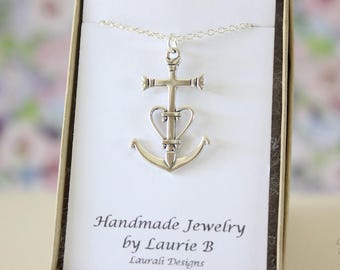 Anchor Charm Necklace, Friendship Gift, Sterling Silver, Bestie Gift, Nautical Charm, Anchor Necklace, Thank you card, Navy