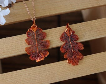 Copper Lacey Oak Leaf Necklace, Real Leaf Necklace, Oak Leaf, Rose Gold, Leaf Necklace, Leaf Pendant LC222