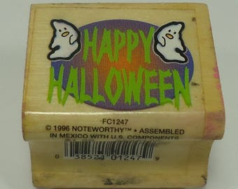 Happy Halloween With Ghosts Wood Mounted Rubber Stamp By Noteworthy