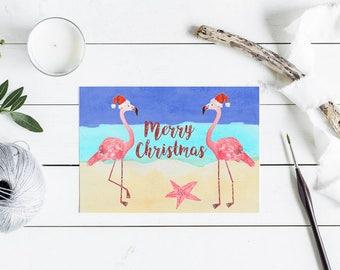 Flamingo Christmas Card - flamingo beach Santa hat, starfish christmas - A6 watercolour print