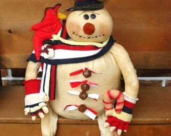 PATTERN Snowman Candy Cane and Cardinal Bird Pattern, Mr. Jingles Snowman #110 NEW Raggedydays Original