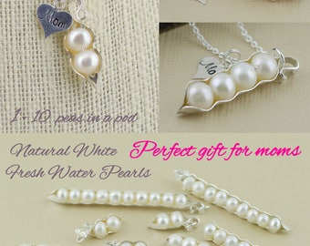 Mommy necklace, pea pod necklace, 123456789, 10 peas in a pod, genuine pearl, gift for mom, baby shower gift, grandma gift, gift for wife