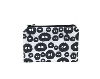 LIMITED EDITION Soot Sprites Zipper Pouch / My Neighbor Totoro Spirited Away Susuwatari on Grey / Make Up or Coin Pouch