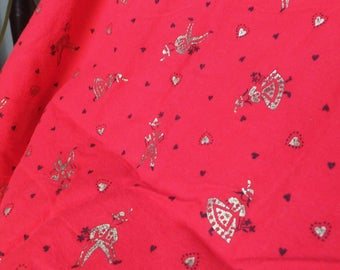 Mid Century Bavarian Folk Fabric Red Flannel with Gold Dancers and Black Hearts Pattern Vintage 1950's Fabric Vtg 1960's Flannel