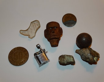 Vintage 1950's Plastic Boot, Carved Man Head, Mini Lighter, Iron Marble, Fools Gold, Naughty Coin, Plastic Token, Craft Lot, Mid Century