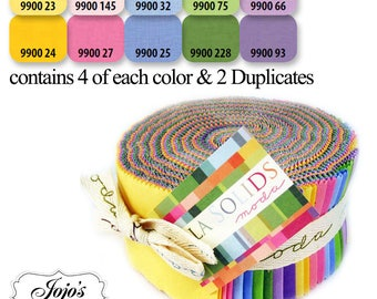 Bella Solids Jelly Roll 30's by Moda Fabrics SKU 9900JR 23