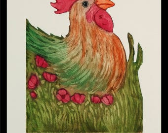 etching, rooster art print,  poppy art, nature art print, country wall art, printmaking, limited edition print, summer colors, farm kitchen