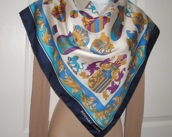 Vintage ROCHAS Paris silk Scarf, Coat of Arms and Shields pattern, Classic 34 inch square, White, navy, gold, blue, grey, purple, Fab scarf!