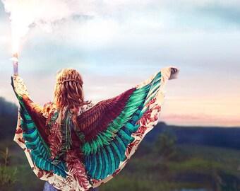 Burning Man Costume, Digital Print Scarf, Birthday Gift for Her, Digital Prints, Wing Scarf, Women Shawl, Girlfriend Gift, Feather Scarf