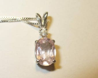 Morganite Pendant with White Zircon Accent Necklace in Sterling Silver ~ Genuine, Natural,  Mined-from-Earth Gemstones ~ Pink Emerald