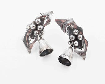 Vintage Mexico Sterling Silver Holly Berry and Bell Earrings, Early Mexico, Pre-Eagle, Screw Back, 1940s, Christmas, Holiday! #b616