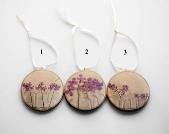 photo wood slice forget me nots flowers purple rustic  blossoms Spring home decor nature