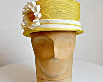 Vintage Yellow Straw Hat - Yellow Hat with Flower - 1960s Vintage Hat