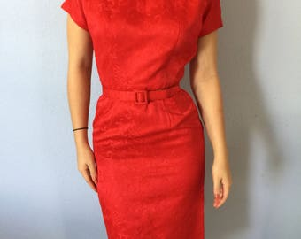 Vintage 1950s Wiggle Dress Red Silk Extra Small