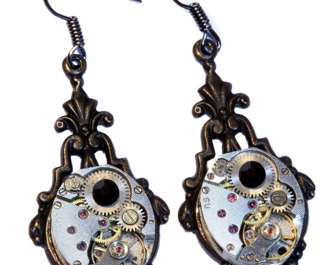 Steampunk Earrings - Jet Black Swarovski Crystal