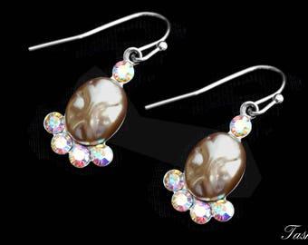 Swarovski Crystal and Pearl Drop Earrings, Rhinestone Art Deco Jewelry