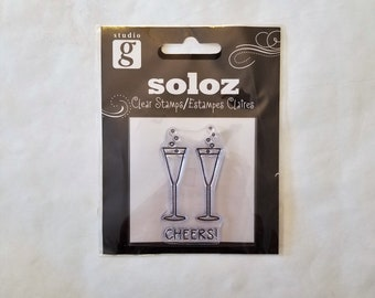 Cheers Champagne Glasses Clear Stamp - SOLOZ by Studio g