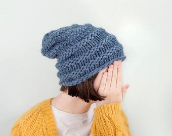 Extra Thick Slouchy Beanie, Denim Blue,  READY TO SHIP
