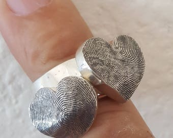Fingerprint Stackable Heart Ring Sterling Silver Thumbprint Personalized