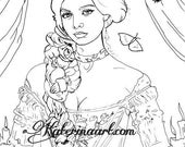 Victorian Lady Vintage Gown Long Braid Candles Gothic  INSTANT DOWNLOAD Digi Stamps fantasy Digi fantasy art By Katerina Art