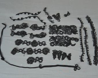Antique Black Silk & Rayon Cord Appliques, 19 pieces, Dress Decorations and Vintage Trims, Victorian and Edwardian