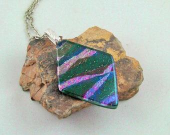 Iridescent Black Diamond - Fused Glass Pendant/Necklace